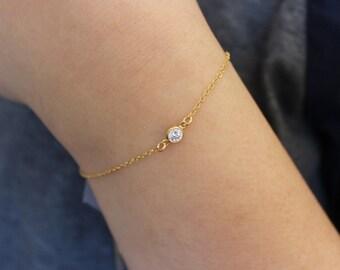 cz diamond bracelet, gold diamoond bracelet, delicate bracelet, tiny bracelet, delicate bracelet, dainty bracelet, charm bracelet simple