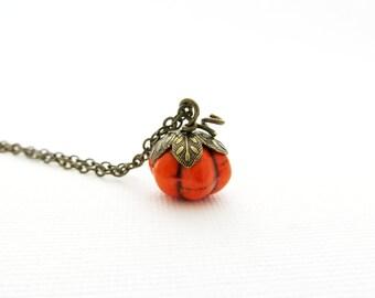 Handcrafted Orange Pumpkin Charm Necklace