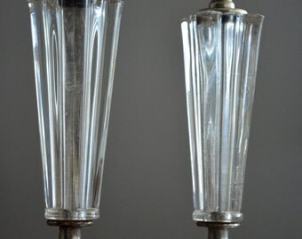 Vintage Boudoir Lamps, Hollywood Regency Lamps, Vanity Lamps, Glass Lamps