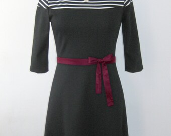 Women dress - Jersey dress  - 3/4 sleeves dress  - Knee dress - Higher waist - Belt - Silkscreen print - Audrey stripes -50%
