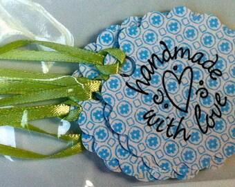Handmade with love tags - light green ribbon