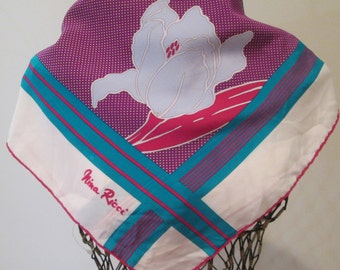 Silk Scarf Designer NINA RICCI Flowered Purple, Pink, Turquoise