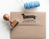 Cute Custom Dachshund Return Address Stamp - return address stamping and customized gift for holidays, housewarming and weddings, school