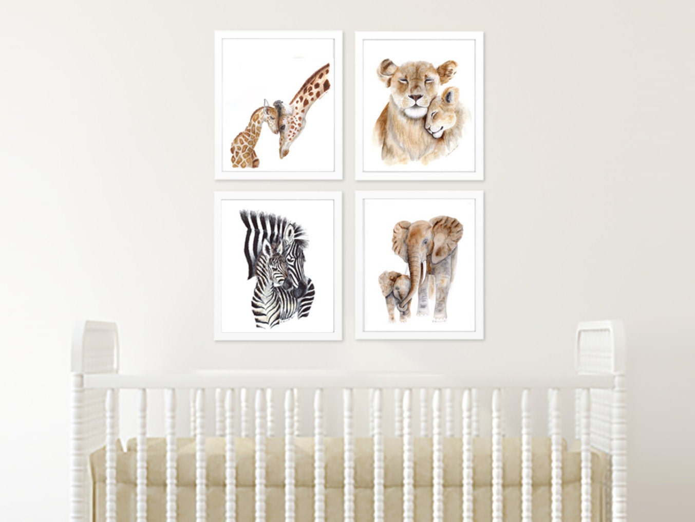 Animal Prints Safari Nursery Art Set Of 4 African Animals