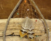 Natural Dream Catcher, Native American Wooden Teardrop with Gemstones, Natural Wood Rustic Decor Hand Woven from The Hidden Meadow