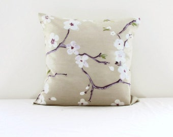 Cherry blossom cushion cover, 16 inch pillow Prestigious textiles Emi fabric, cherry blossom print, flower print cushion, handmade in the UK