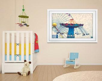 Nursery Wall Art, Carnival Photography, Nursery Prints, Childrens Wall Art, Circus Art, Nursery Wall Decor, Blue, Orange, Yellow
