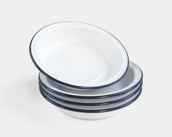 Nesting Enamel Roasting Dishes - bowls bowl tray trays stacking blue white enamelware metal baking tin casserole mid century rustic vintage
