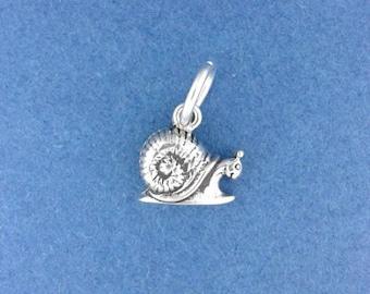 SNAIL Charm .925 Sterling Silver Garden Slug, MINIATURE Small - elp520