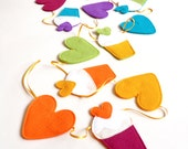 Handmade Cupcake And Heart Multi Coloured Felt Party Garland Decoration  Bunting (2 Metres)