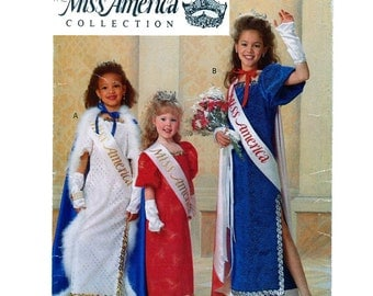 Miss America Halloween Costume Sewing Pattern Butterick 5015 Princess, Queen, Long Dress, Cape, Gloves, Beauty Pagent  Size 4 5 6 7 8 10