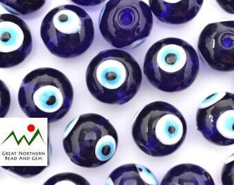 Eye Beads,Lucky Eye Beads,Evil Eye Beads,Glass Beads,Lampwork Beads,16MM Round,Hand Made Beads,Lampwork Glass,EYE079011