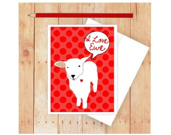 I Love You Card, Love Cards, Pun Art, Funny Love Cards, Sheep Art, Lamb Art, Ewe, Love Card for Her, I Love You Because, Red Polka Dots