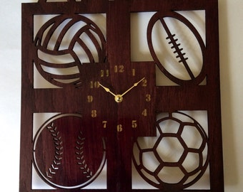 Personalized sports wall clock. Kids wall clock, clock, large wall clock, Personalized gift, wood wall clock, sports clock, kids clock