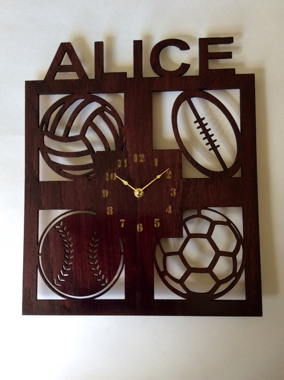 personalized sports wall clock kids wall clock clock large. Black Bedroom Furniture Sets. Home Design Ideas