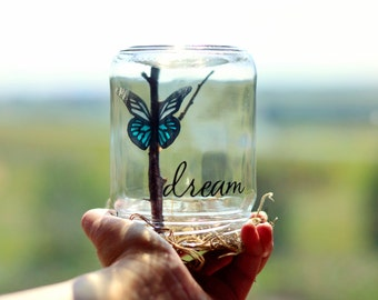 Dream | Graduation gift | Birthday gift for her | Positive inspiration | Teal desk accessories | Gifts for teens | Butterfly gift women