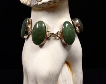 "Jade + Sterling Silver 925 Statement bracelet One-of-a-kind  7 1/2""-8 1/4"""