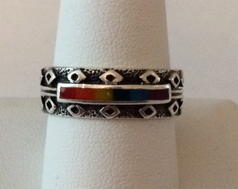 Size 10 Sterling Silver Rainbow Ring