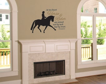 Dressage Horse and Rider horse decal • equestrian decor • horse quote • wall quote • 22.5 inches wide x 15 high