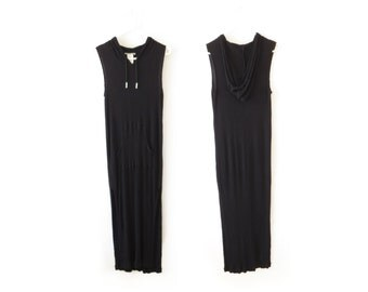 Black Hooded Dress Hooded Maxi Dress Anne Klein Health Goth Clothing Rayon Maxi Dress 90s Minimalist Dress Minimal Vaporwave Womens XS Small