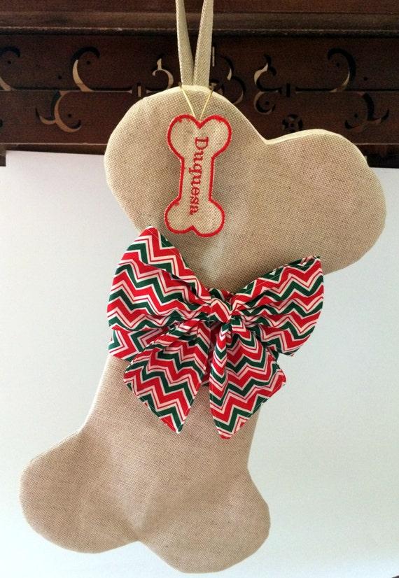 Dog christmas stocking personalized dog stocking pet for Personalized dog christmas stocking