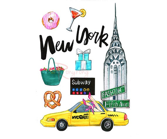 Souvent New York artNew York illustration New York art print NY PQ59