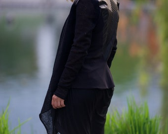 Hooded Cardigan, Women Hoodie, Leather Vest, Long Vest, Black Cardigan, Asymmetric Cardigan, Steampunk Cardigan, Gothic Cardigan