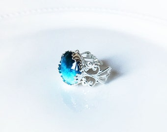 Turquoise Teal Silver Filigree Ring-16 mm Glass Cabochon Ring-Gradient Ring-Statement Ring-Vintage Style-With Gift Box