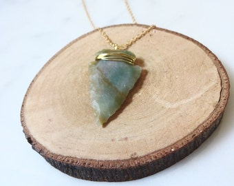 Gold Wire-Wrapped Arrowhead Necklace