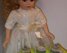 "Whimsical Garden tea set/ 18"" doll tea set/ miniature tea set/ fairy garden/ miniature collector/ tea party/ miniature cup/ 1 4 scale"
