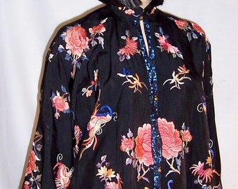 Black Silk Chinese Hand-Embroidered Jacket with Peonies