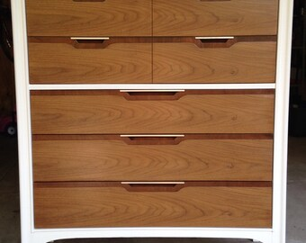 sold sleek kentcoffey highboy dresser pure white and stained