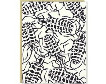 Cottonwood Borer Beetle Card by Eville Eye Arts