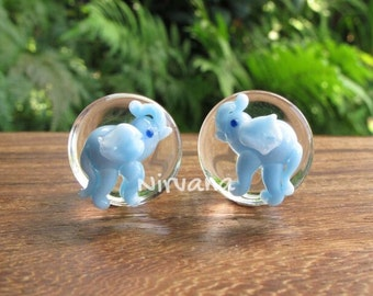 "Sky Blue Elephant Plugs Pyrex Glass  00g 7/16"" 1/2"" 9/16"" 5/8"" 3/4"" - 1"" 9.5 mm 10 mm 11 mm 12 mm 14 mm 16 mm 18 mm - 25 mm"