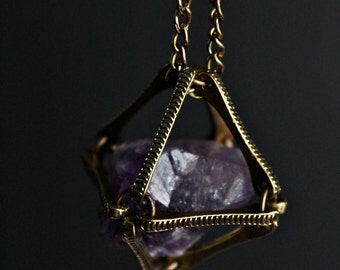 Rock Cage - Raw Amethyst in Metal  Cage Necklace | Long Necklace