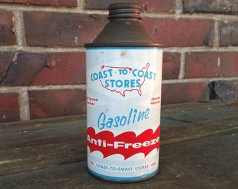 Vintage Coast To Coast Stores Gasoline Antifreeze Tin - 1960's Cone Top Can