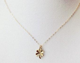 Four leaf clover dainty necklace, lucky necklace, gold dainty necklace, irish necklace, clover gold necklace, tiny four leaf clover necklace