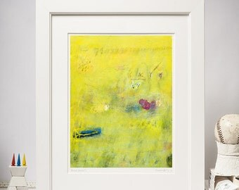 Abstract  Painting, Yellow, Light Blue, Magenta, 8,5x11 Giclee Print, Modern and Contemporary wall art, Fine Art Print
