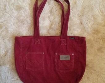 Wrangler Burgundy Corduroy Shoulder Bag Tote Purse by Yak Pak Wine Red