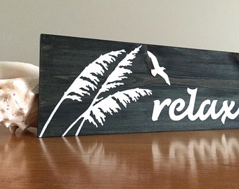 Relax Sign (b) - Wood Wall Decor - Beach Decor - Beach Wall Decor - Beach House Decor - Rustic Wall Decor