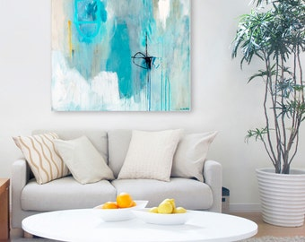 """Large abstract ART PRINT, modern minimalist artwork, large contemporary abstract, soothing pastel wall art, abstract painting PRINT """"Sempre"""""""
