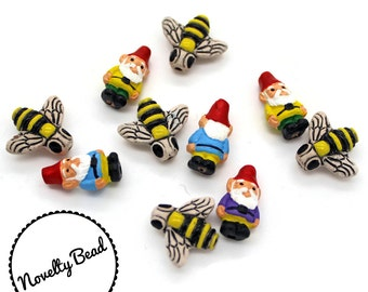 10 - Small - Gnome & Honey Bee Beads - Garden Gnome - Red Cap Gnome - Novelty - Ceramic