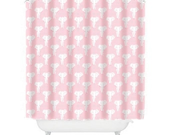 Pink Shower Curtain, Elephant Shower Curtain, Elephant Bathroom Decor, Kids Shower  Curtain,