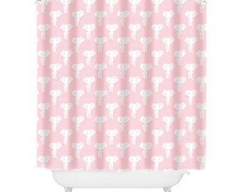 pink shower curtain, elephant shower curtain, elephant bathroom decor, kids shower curtain, childrens shower curtain, girls shower curtain