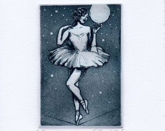 Limited Edition Etching Print - High Wire - in Indigo