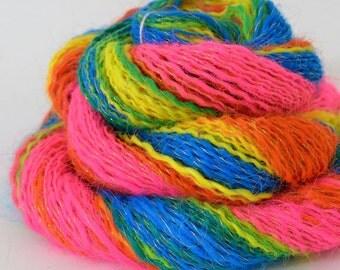 Handspun Gradient Yarn, Vegan Rainbow Yarn - 1.16oz, 152yd, WPI 19,