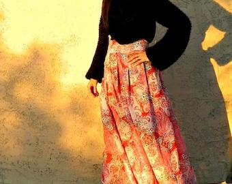 Bohemian Skirt-Boho Skirt-Gypsy Skirt-Festival Skirt-Maxi Skirt-High Waisted Maxi-Skirt-Womens Clothing-Long Skirt-Linen Skirt-Paisley