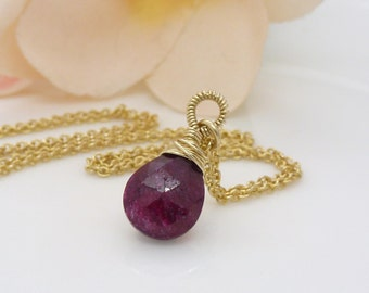 Gold ruby necklace, small petite dark pinky red 14kt gold filled ruby jewelry