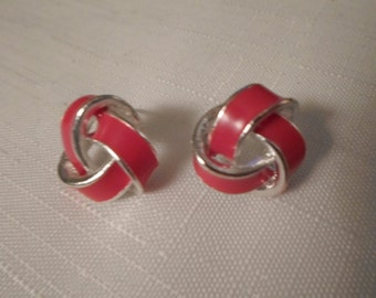 RED BASKETWEAVE EARRINGS / Pierced / Enamel / Silver / Celtic Knot / Designer-Inspired / Modernist / Trendy / Classic / Chic / Accessories