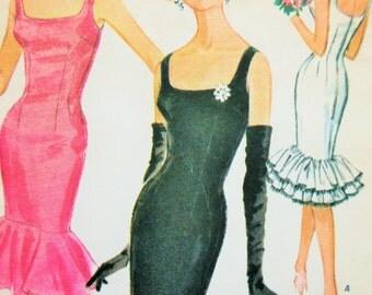 Vintage McCall's 6085 Sewing Pattern, Sheath Dress, 1960s Dress Pattern, Flounce,  Bust 31, Wiggle Dress, 1950s Sewing Pattern, 50s Fifties